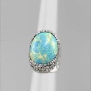 Pave Oval Stone Cuff Ring One Size (Crystal Metal)